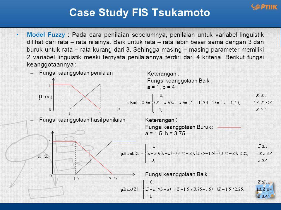 Case Study FIS Tsukamoto Model Fuzzy : Pada cara penilaian sebelumnya, penilaian untuk variabel linguistik dilihat dari rata – rata nilainya. Baik unt