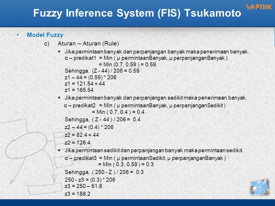 Fuzzy Inference System (FIS) Tsukamoto Model Fuzzy c)Aturan – Aturan (Rule)  Jika permintaan banyak dan perpanjangan banyak maka penerimaan banyak. α