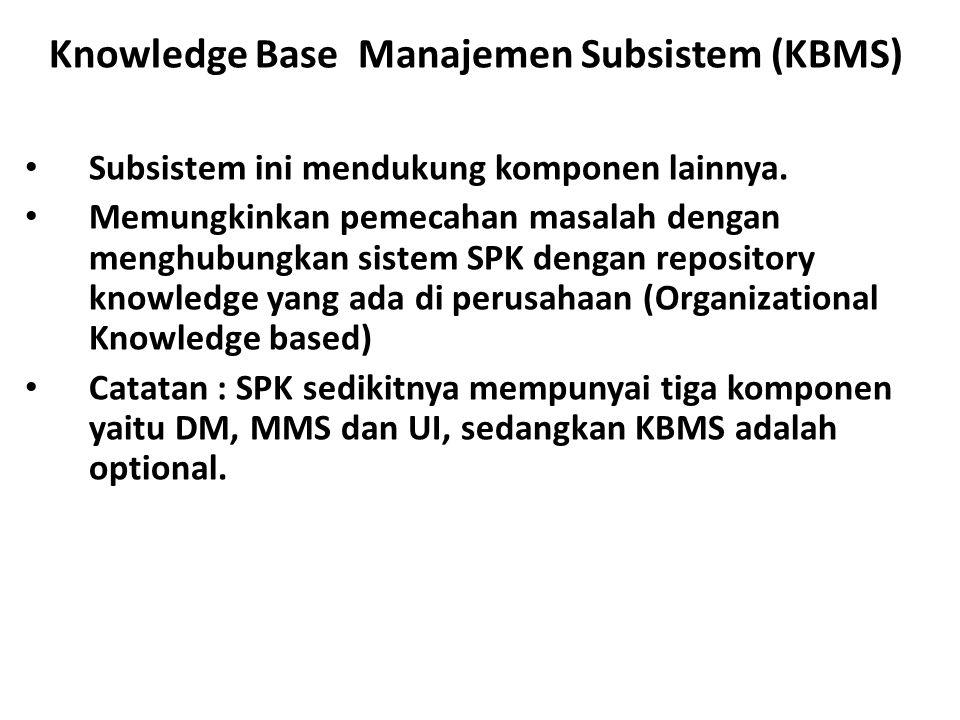 Knowledge Base Manajemen Subsistem (KBMS) Subsistem ini mendukung komponen lainnya. Memungkinkan pemecahan masalah dengan menghubungkan sistem SPK den
