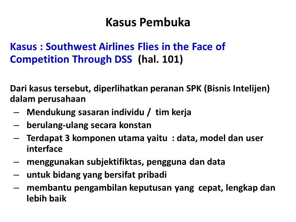 Kasus Pembuka Kasus : Southwest Airlines Flies in the Face of Competition Through DSS (hal. 101) Dari kasus tersebut, diperlihatkan peranan SPK (Bisni