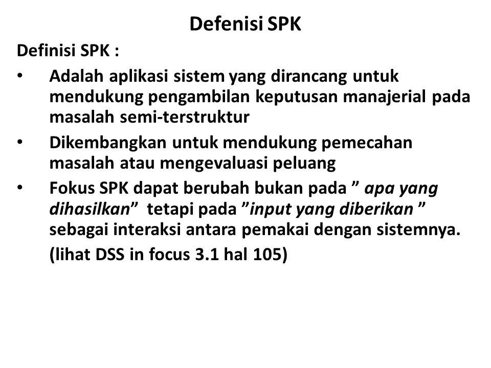 Defenisi SPK Definisi SPK : Adalah aplikasi sistem yang dirancang untuk mendukung pengambilan keputusan manajerial pada masalah semi-terstruktur Dikem