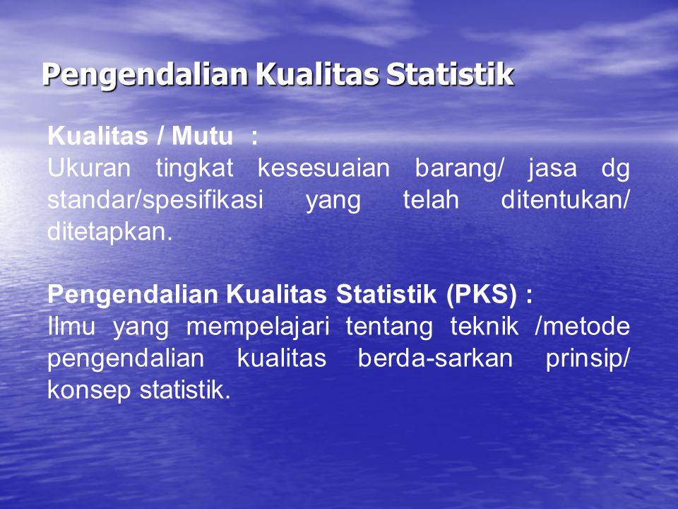 Pengendalian Kualitas Statistik Kualitas / Mutu: Ukuran tingkat kesesuaian barang/ jasa dg standar/spesifikasi yang telah ditentukan/ ditetapkan. Peng