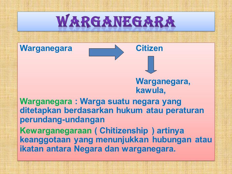 WarganegaraCitizen Warganegara, kawula, Warganegara : Warga suatu negara yang ditetapkan berdasarkan hukum atau peraturan perundang-undangan Kewarganegaraan ( Chitizenship ) artinya keanggotaan yang menunjukkan hubungan atau ikatan antara Negara dan warganegara.