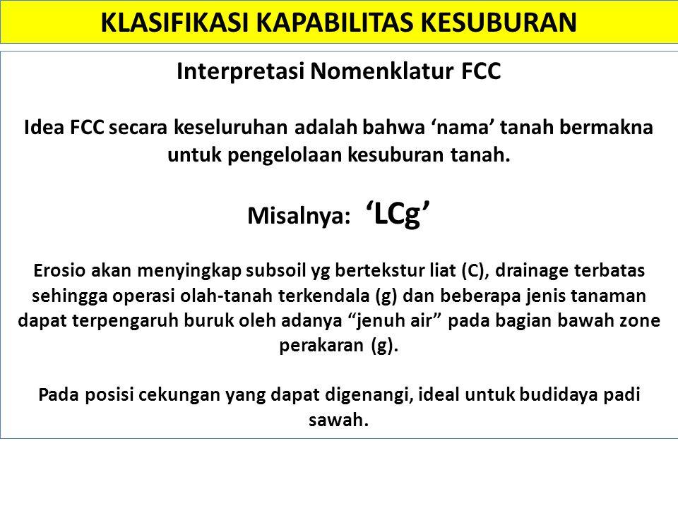 Interpretasi Nomenklatur FCC Idea FCC secara keseluruhan adalah bahwa 'nama' tanah bermakna untuk pengelolaan kesuburan tanah. Misalnya: 'LCg' Erosio