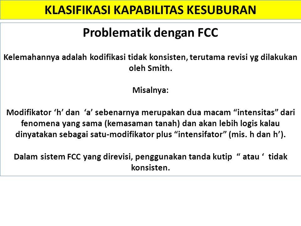 Problematik dengan FCC Kelemahannya adalah kodifikasi tidak konsisten, terutama revisi yg dilakukan oleh Smith. Misalnya: Modifikator 'h' dan 'a' sebe