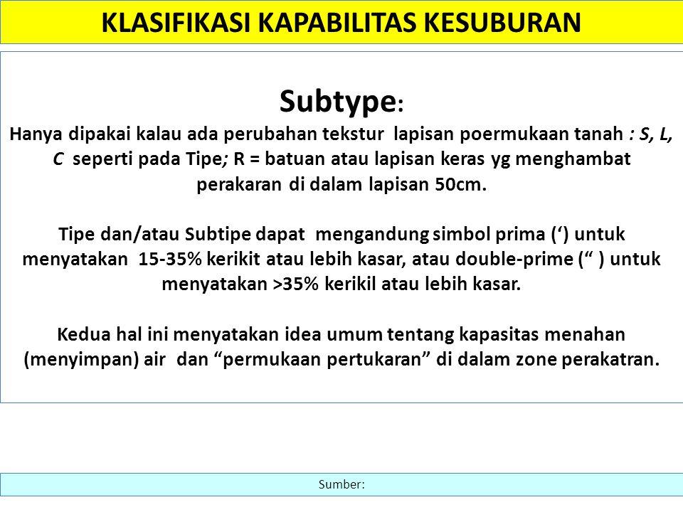 Subtype : Hanya dipakai kalau ada perubahan tekstur lapisan poermukaan tanah : S, L, C seperti pada Tipe; R = batuan atau lapisan keras yg menghambat
