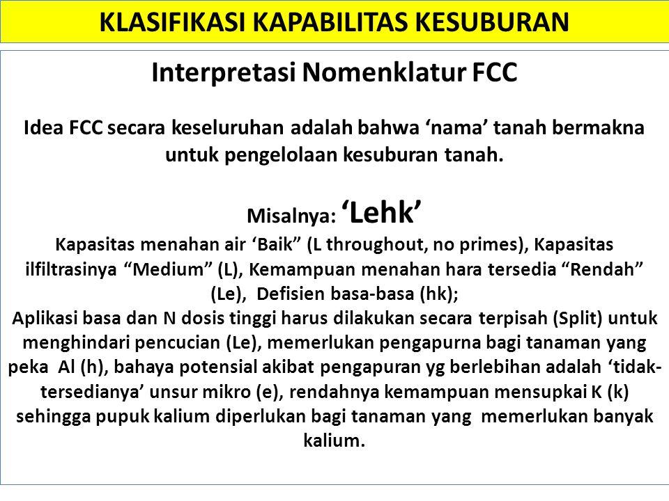 Interpretasi Nomenklatur FCC Idea FCC secara keseluruhan adalah bahwa 'nama' tanah bermakna untuk pengelolaan kesuburan tanah. Misalnya: 'Lehk' Kapasi