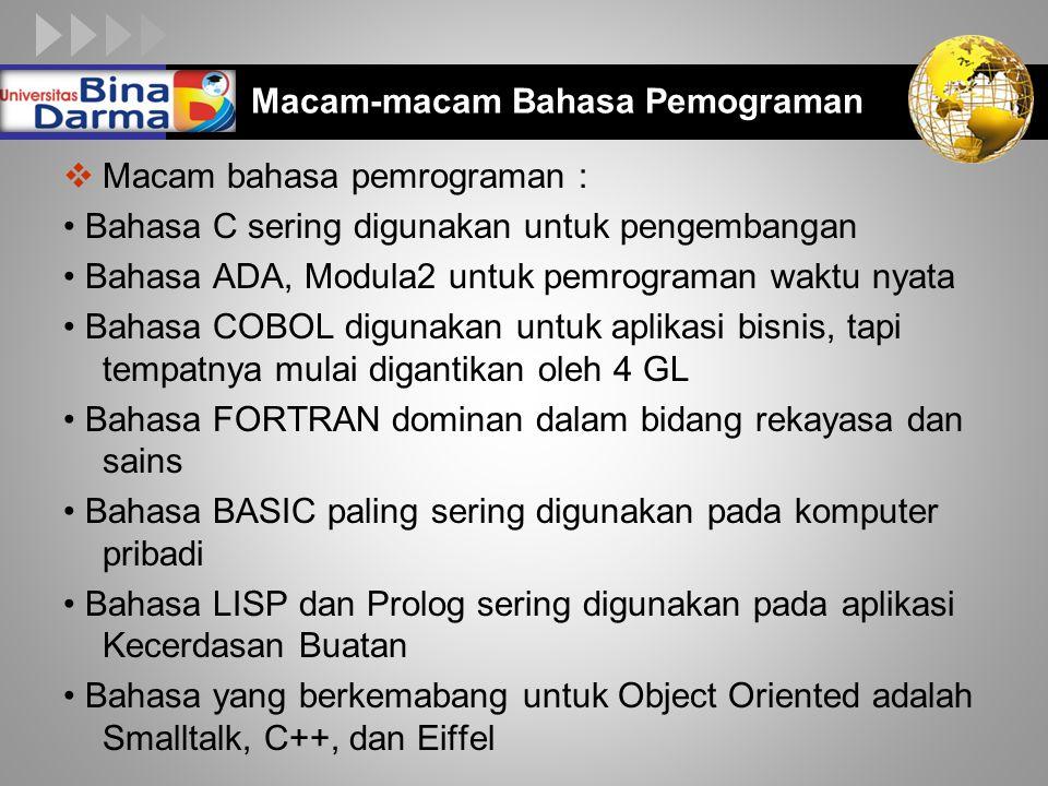 LOGO  Macam bahasa pemrograman : Bahasa C sering digunakan untuk pengembangan Bahasa ADA, Modula2 untuk pemrograman waktu nyata Bahasa COBOL digunaka
