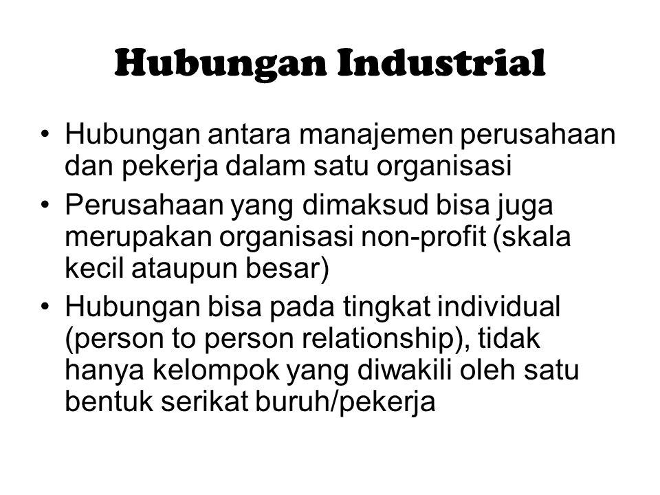 Hubungan Industrial Hubungan antara manajemen perusahaan dan pekerja dalam satu organisasi Perusahaan yang dimaksud bisa juga merupakan organisasi non