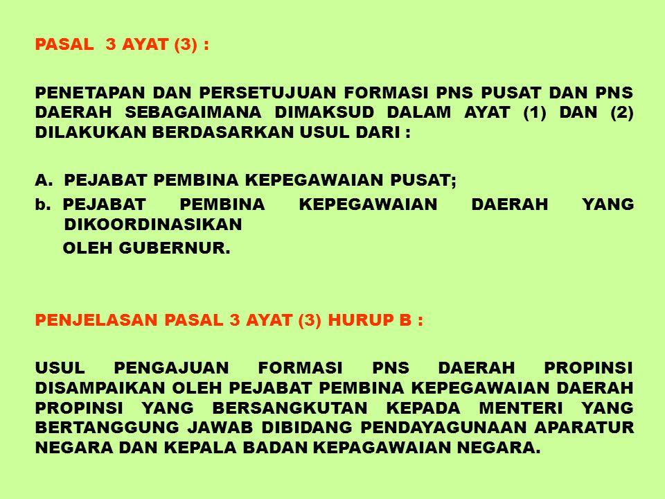 PASAL 2 AYAT (2) : FORMASI PEGAWAI NEGERI SIPIL TERDIRI DARI : A. FORMASI PEGAWAI NEGERI SIPIL PUSAT B. FORMASI PEGAWAI NEGERI SIPIL DAERAH PASAL 3 AY