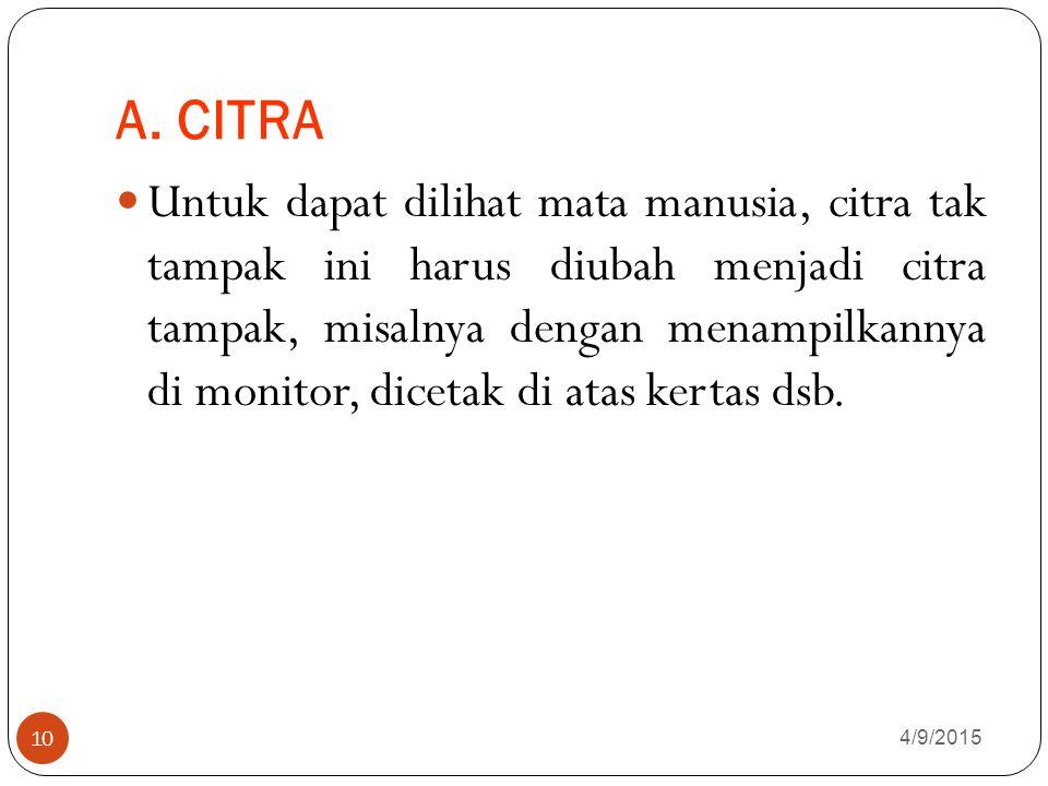 A. CITRA 4/9/2015 10 Untuk dapat dilihat mata manusia, citra tak tampak ini harus diubah menjadi citra tampak, misalnya dengan menampilkannya di monit