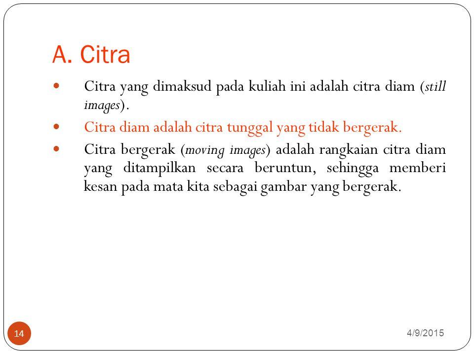 A.Citra 4/9/2015 14 Citra yang dimaksud pada kuliah ini adalah citra diam (still images).