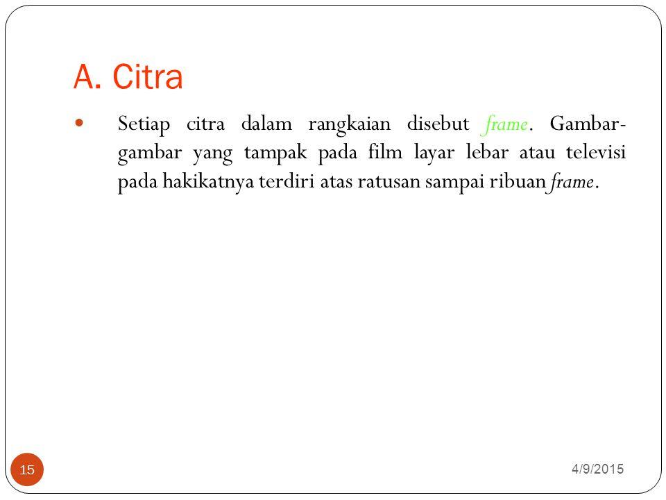 A.Citra 4/9/2015 15 Setiap citra dalam rangkaian disebut frame.