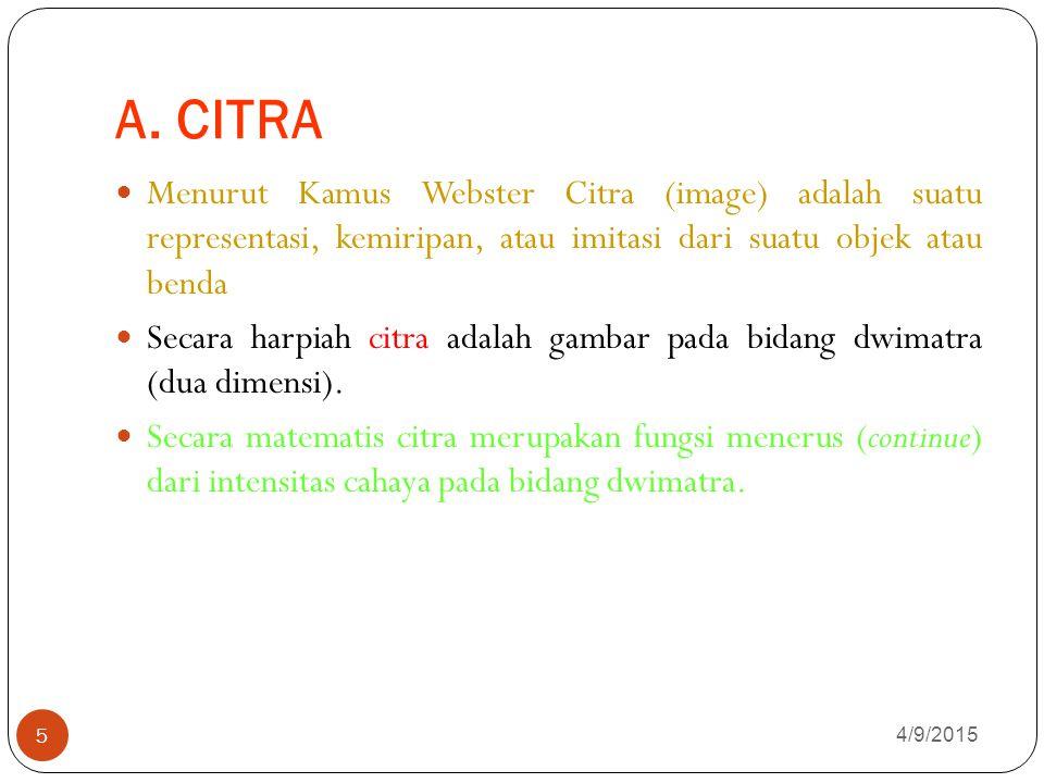 A. CITRA 4/9/2015 5 Menurut Kamus Webster Citra (image) adalah suatu representasi, kemiripan, atau imitasi dari suatu objek atau benda Secara harpiah