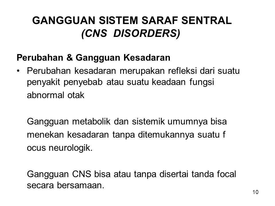 10 GANGGUAN SISTEM SARAF SENTRAL (CNS DISORDERS) Perubahan & Gangguan Kesadaran Perubahan kesadaran merupakan refleksi dari suatu penyakit penyebab at