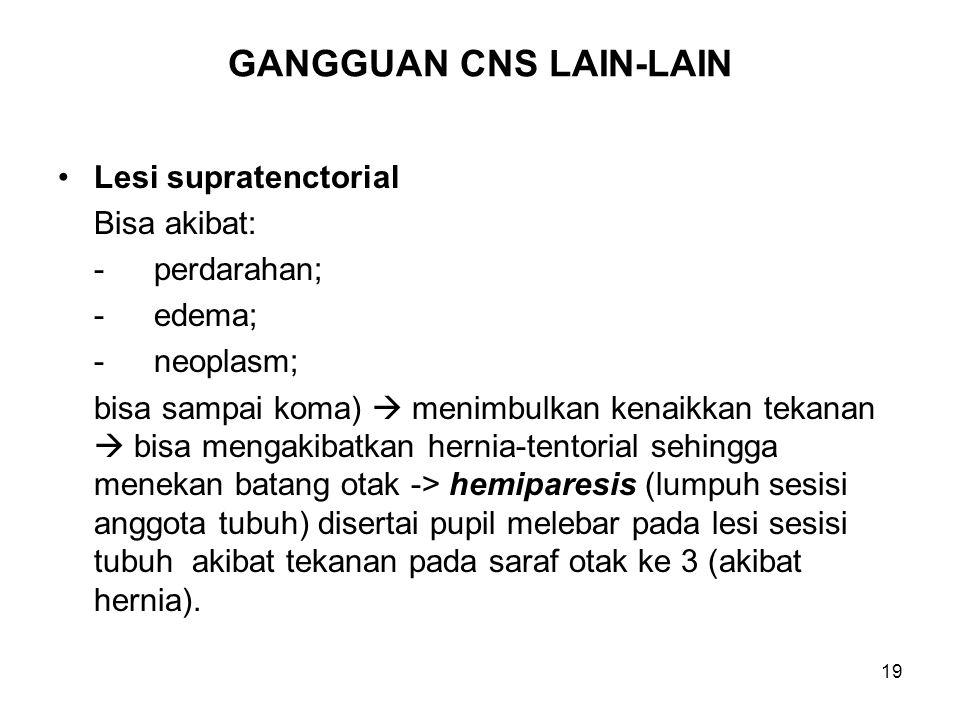 19 GANGGUAN CNS LAIN-LAIN Lesi supratenctorial Bisa akibat: -perdarahan; -edema; -neoplasm; bisa sampai koma)  menimbulkan kenaikkan tekanan  bisa m