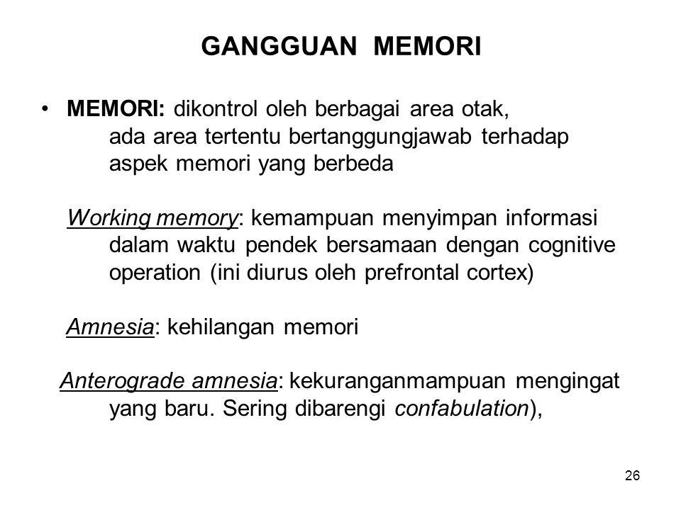 26 GANGGUAN MEMORI MEMORI: dikontrol oleh berbagai area otak, ada area tertentu bertanggungjawab terhadap aspek memori yang berbeda Working memory: ke