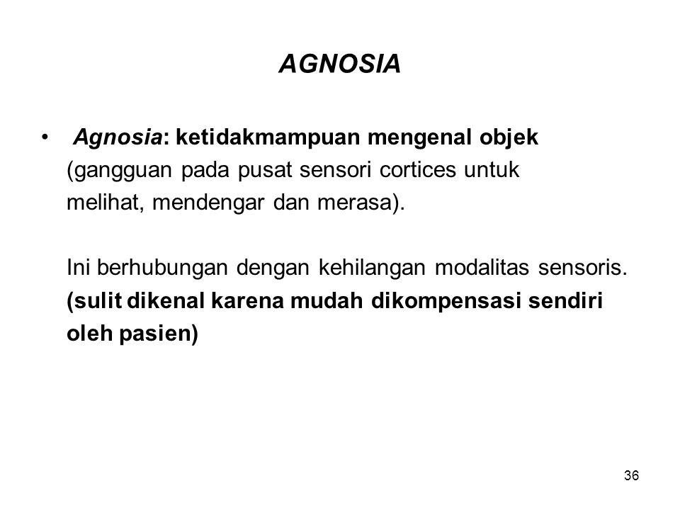 36 AGNOSIA Agnosia: ketidakmampuan mengenal objek (gangguan pada pusat sensori cortices untuk melihat, mendengar dan merasa). Ini berhubungan dengan k
