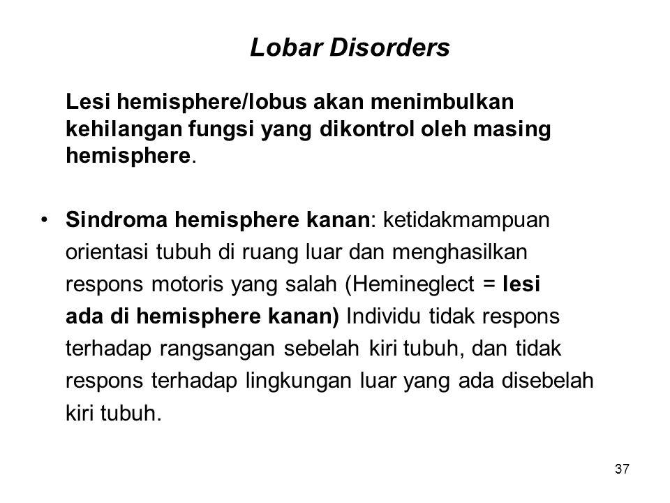 37 Lobar Disorders Lesi hemisphere/lobus akan menimbulkan kehilangan fungsi yang dikontrol oleh masing hemisphere. Sindroma hemisphere kanan: ketidakm
