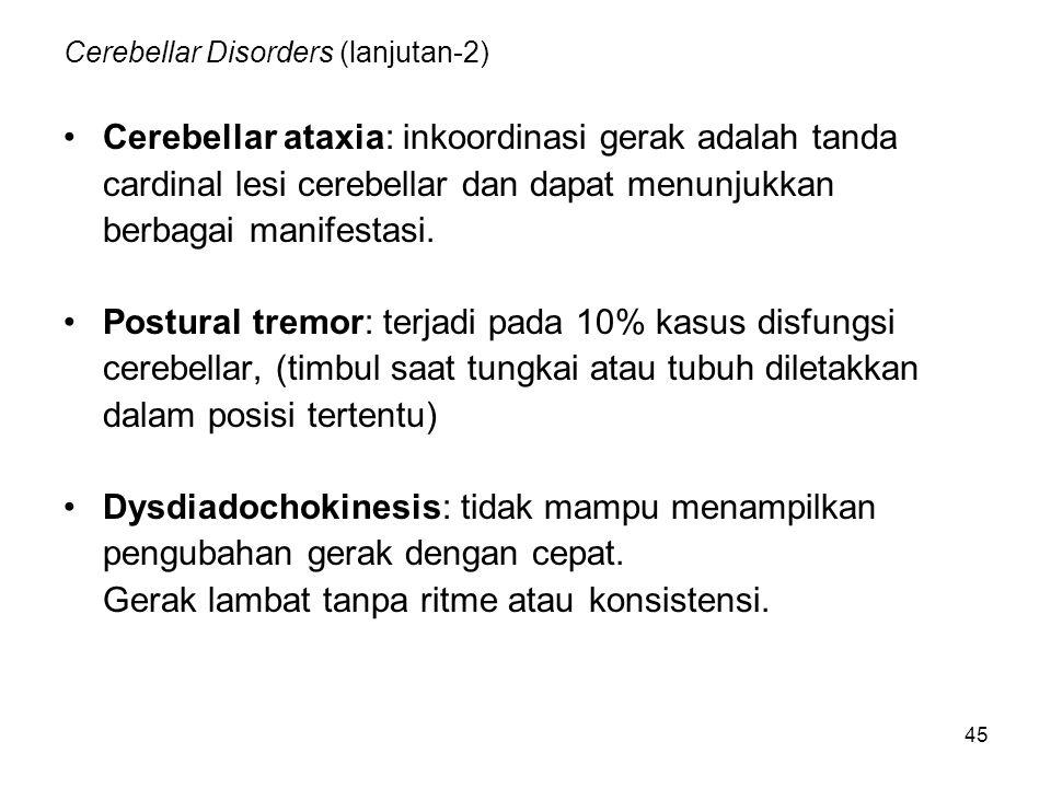 45 Cerebellar Disorders (lanjutan-2) Cerebellar ataxia: inkoordinasi gerak adalah tanda cardinal lesi cerebellar dan dapat menunjukkan berbagai manife
