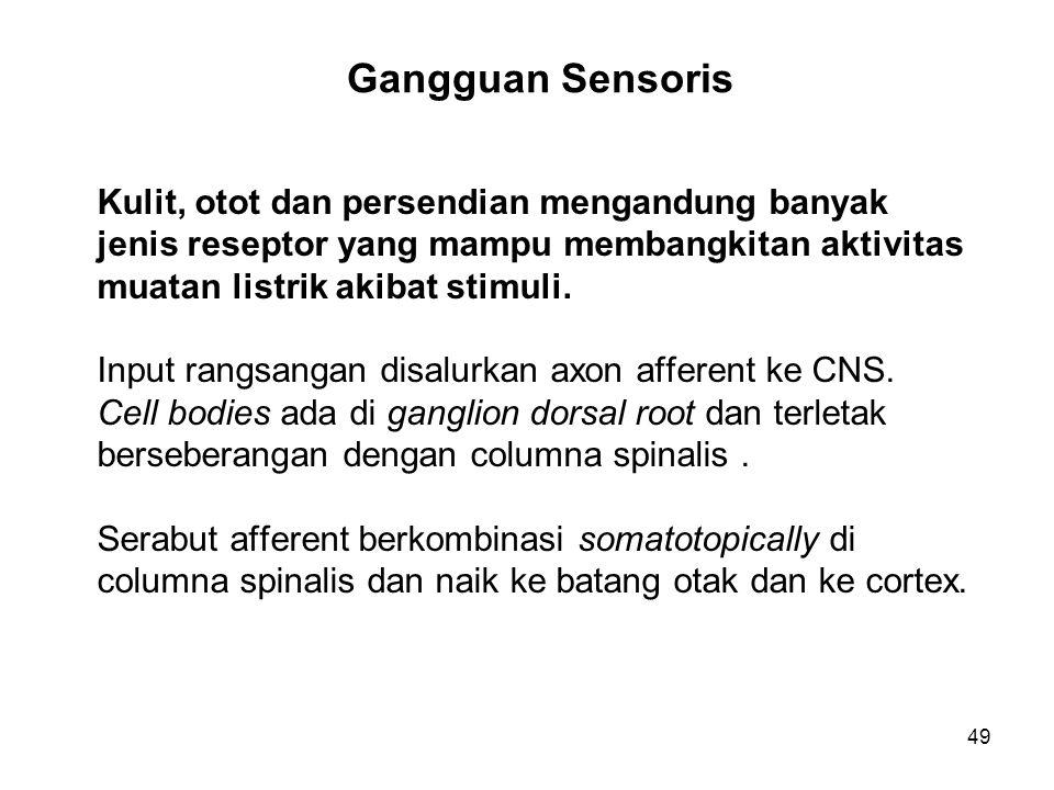 49 Gangguan Sensoris Kulit, otot dan persendian mengandung banyak jenis reseptor yang mampu membangkitan aktivitas muatan listrik akibat stimuli. Inpu