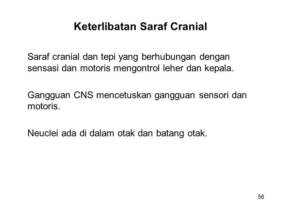 56 Keterlibatan Saraf Cranial Saraf cranial dan tepi yang berhubungan dengan sensasi dan motoris mengontrol leher dan kepala. Gangguan CNS mencetuskan