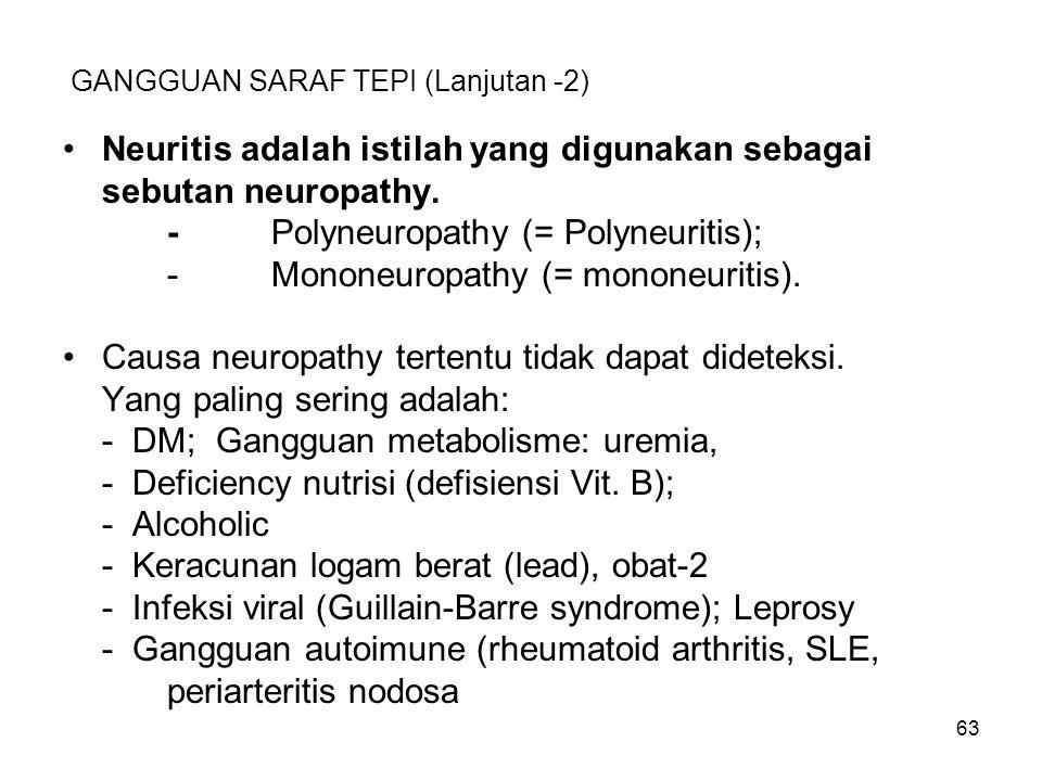 63 GANGGUAN SARAF TEPI (Lanjutan -2) Neuritis adalah istilah yang digunakan sebagai sebutan neuropathy. -Polyneuropathy (= Polyneuritis); -Mononeuropa
