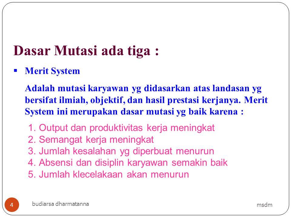 Dasar Mutasi ada tiga :  Merit System Adalah mutasi karyawan yg didasarkan atas landasan yg bersifat ilmiah, objektif, dan hasil prestasi kerjanya. M
