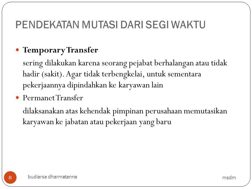 PENDEKATAN MUTASI DARI SEGI WAKTU msdm budiarsa dharmatanna 8 Temporary Transfer sering dilakukan karena seorang pejabat berhalangan atau tidak hadir