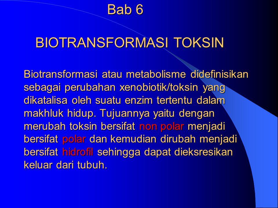 Bab 6 BIOTRANSFORMASI TOKSIN Biotransformasi atau metabolisme didefinisikan sebagai perubahan xenobiotik/toksin yang dikatalisa oleh suatu enzim tertentu dalam makhluk hidup.