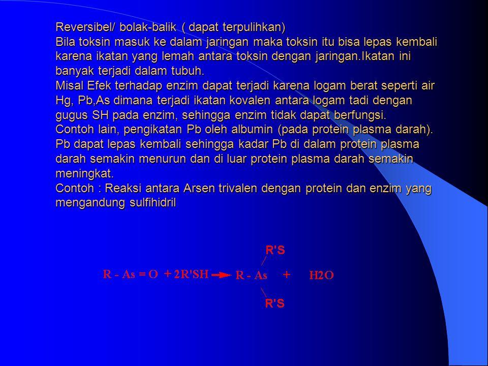 2. INHIBISI SECARA BOLAK-BALIK (REVERSIBLE /TERPULIHKAN) Polar TERJADI IKATAN NON KOVALEN (IKATAN YG LEMAH ) ANTARA LOGAM DENGAN ENZIM SEHINGGA LOGAM