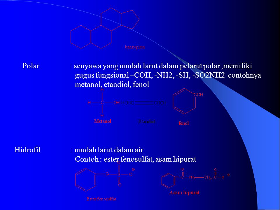 Polar : senyawa yang mudah larut dalam pelarut polar,memiliki gugus fungsional –COH, -NH2, -SH, -SO2NH2 contohnya metanol, etandiol, fenol Hidrofil : mudah larut dalam air Contoh : ester fenosulfat, asam hipurat