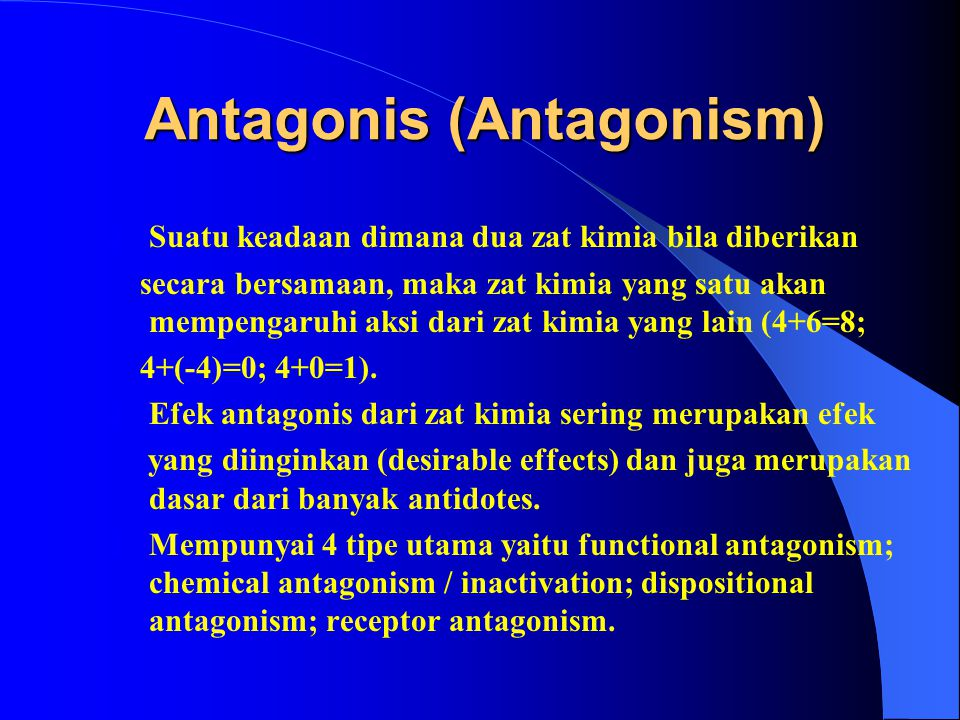 Potensiasi (Potentiation) Potensiasi (Potentiation)  Suatu keadaan dimana suatu zat (A) tidak memiliki efek toksik terhadap organ atau sistem tertent