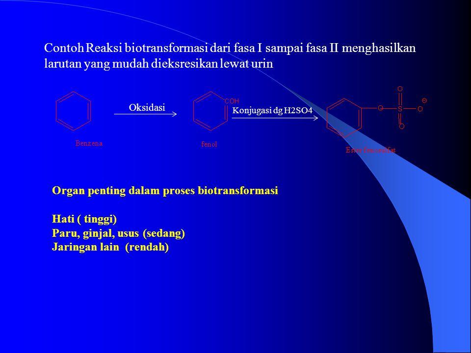 Contoh Reaksi biotransformasi dari fasa I sampai fasa II menghasilkan larutan yang mudah dieksresikan lewat urin Oksidasi Konjugasi dg H2SO4 Organ penting dalam proses biotransformasi Hati ( tinggi) Paru, ginjal, usus (sedang) Jaringan lain (rendah)