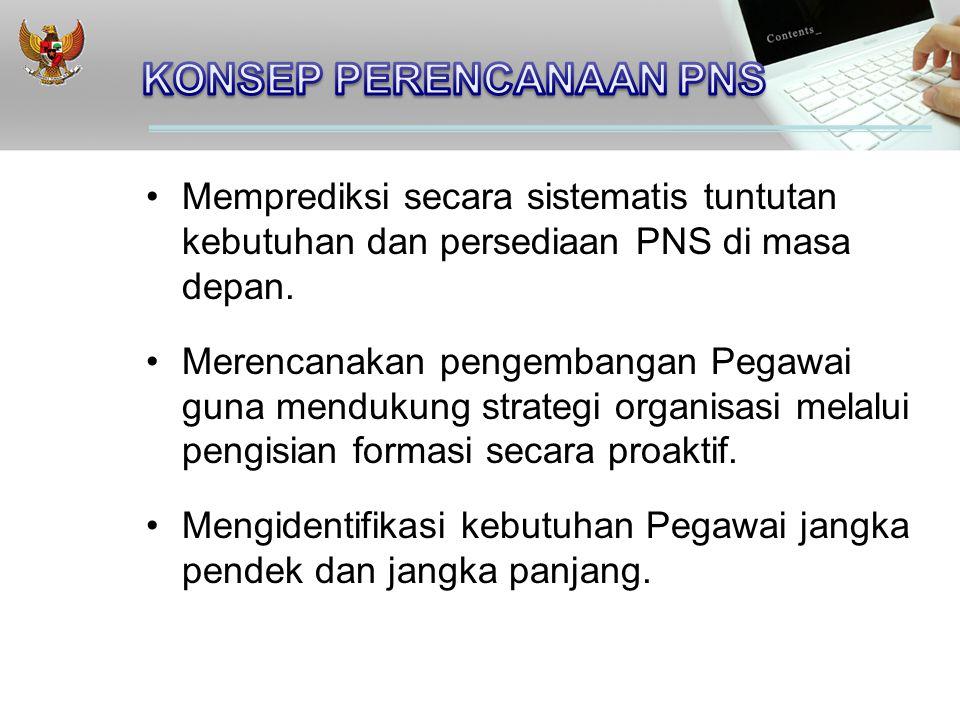 Memprediksi secara sistematis tuntutan kebutuhan dan persediaan PNS di masa depan.