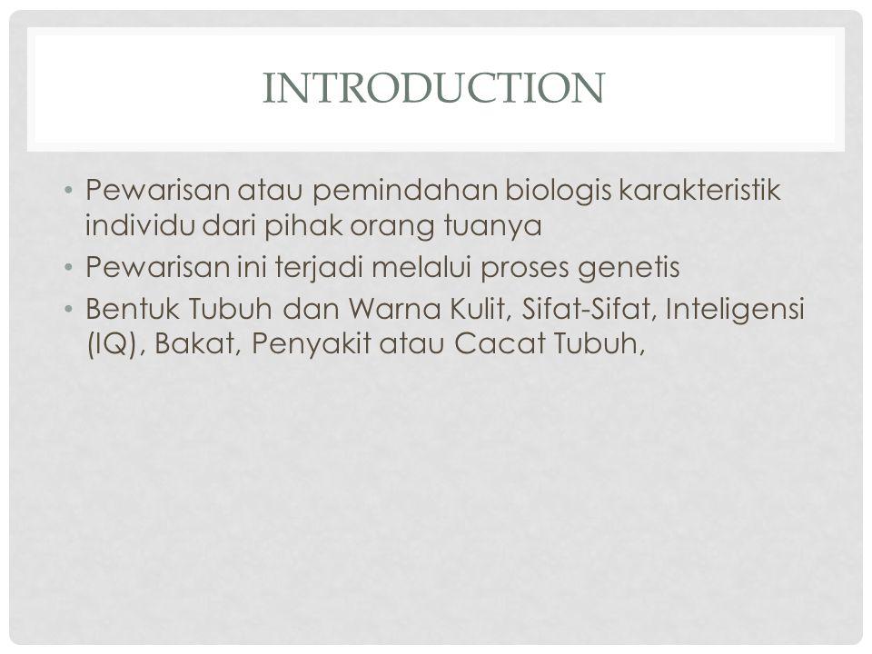 INTRODUCTION Pewarisan atau pemindahan biologis karakteristik individu dari pihak orang tuanya Pewarisan ini terjadi melalui proses genetis Bentuk Tub