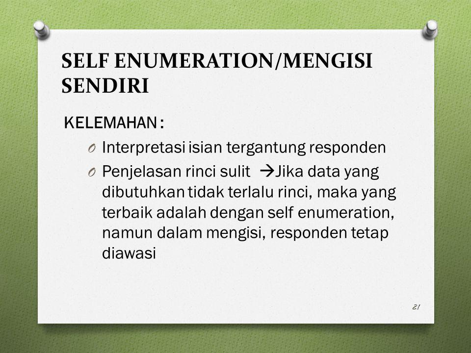 SELF ENUMERATION/MENGISI SENDIRI KELEMAHAN : O Interpretasi isian tergantung responden O Penjelasan rinci sulit  Jika data yang dibutuhkan tidak terlalu rinci, maka yang terbaik adalah dengan self enumeration, namun dalam mengisi, responden tetap diawasi 21