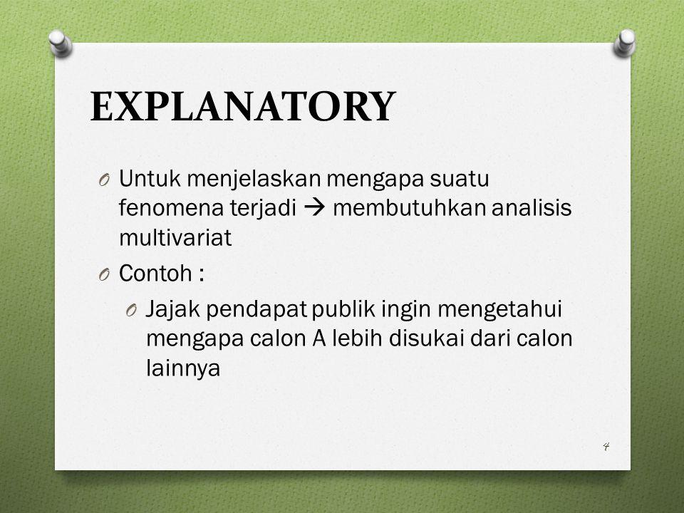EXPLANATORY O Untuk menjelaskan mengapa suatu fenomena terjadi  membutuhkan analisis multivariat O Contoh : O Jajak pendapat publik ingin mengetahui mengapa calon A lebih disukai dari calon lainnya 4