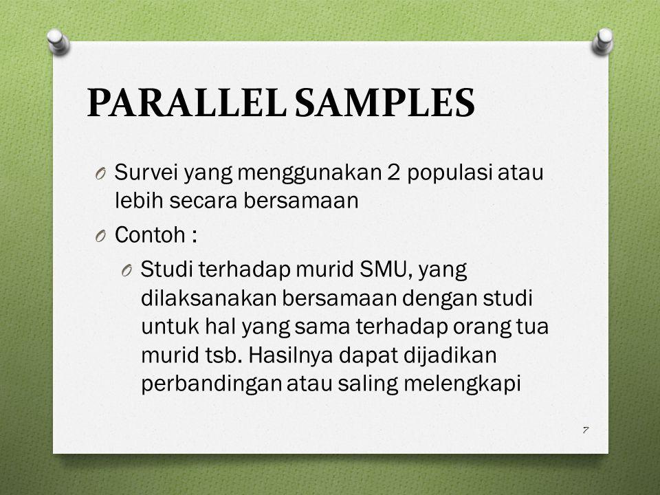PARALLEL SAMPLES O Survei yang menggunakan 2 populasi atau lebih secara bersamaan O Contoh : O Studi terhadap murid SMU, yang dilaksanakan bersamaan dengan studi untuk hal yang sama terhadap orang tua murid tsb.