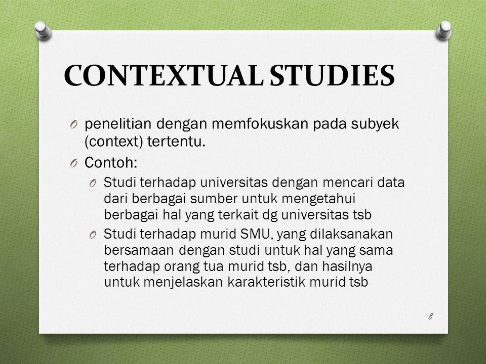 CONTEXTUAL STUDIES O penelitian dengan memfokuskan pada subyek (context) tertentu.