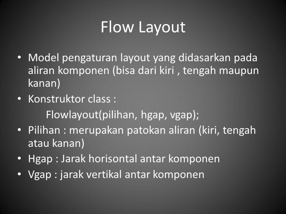 Flow Layout Model pengaturan layout yang didasarkan pada aliran komponen (bisa dari kiri, tengah maupun kanan) Konstruktor class : Flowlayout(pilihan,