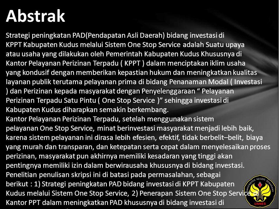 Kata Kunci Strategi peningkatan PAD, Melalui Sistem One Service