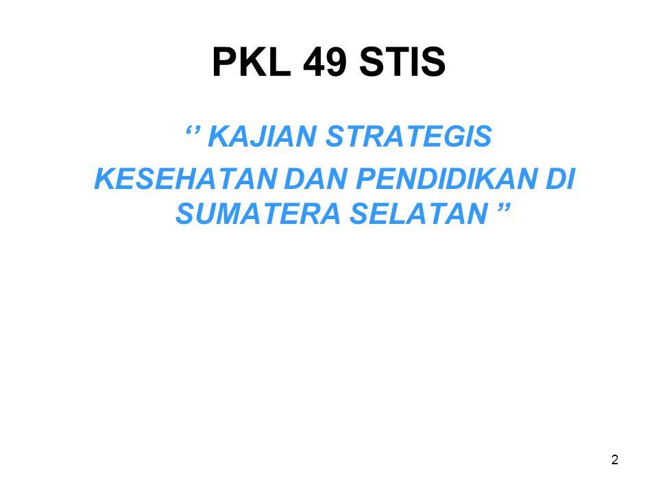 """2 PKL 49 STIS '' KAJIAN STRATEGIS KESEHATAN DAN PENDIDIKAN DI SUMATERA SELATAN """""""