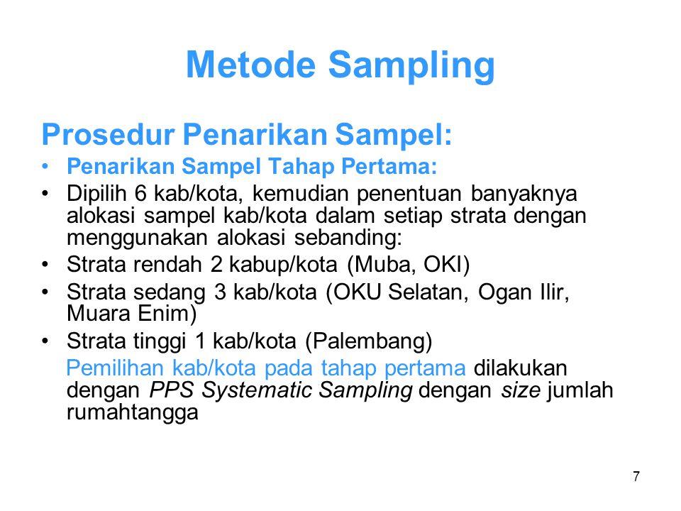 7 Metode Sampling Prosedur Penarikan Sampel: Penarikan Sampel Tahap Pertama: Dipilih 6 kab/kota, kemudian penentuan banyaknya alokasi sampel kab/kota