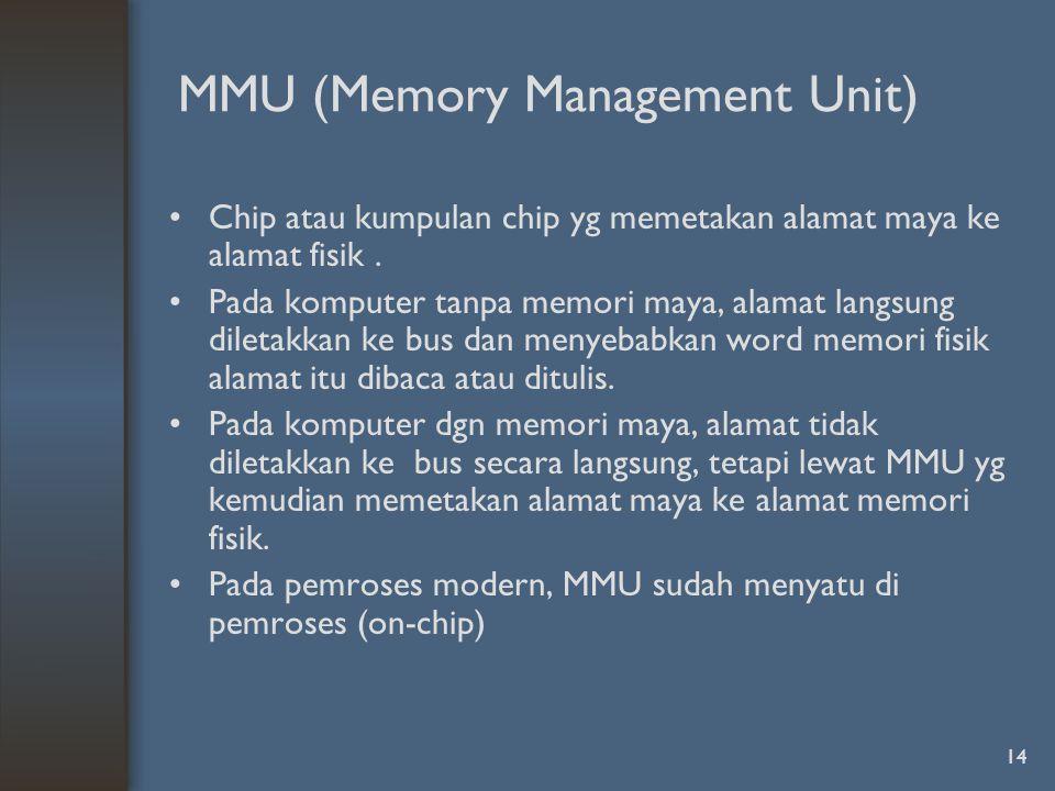 14 MMU (Memory Management Unit) Chip atau kumpulan chip yg memetakan alamat maya ke alamat fisik.