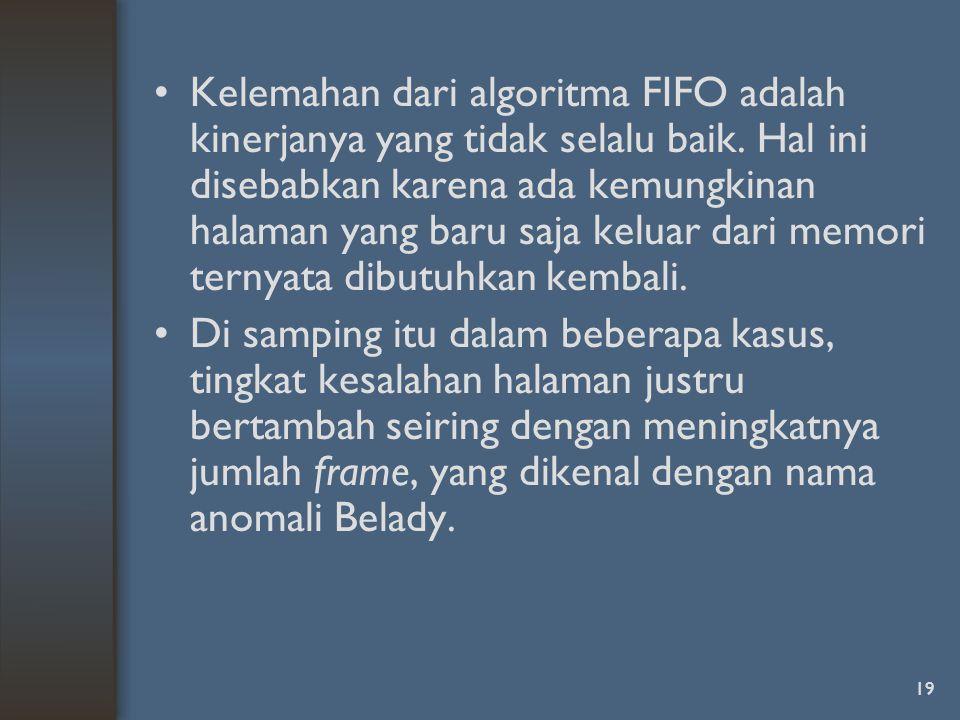 19 Kelemahan dari algoritma FIFO adalah kinerjanya yang tidak selalu baik.