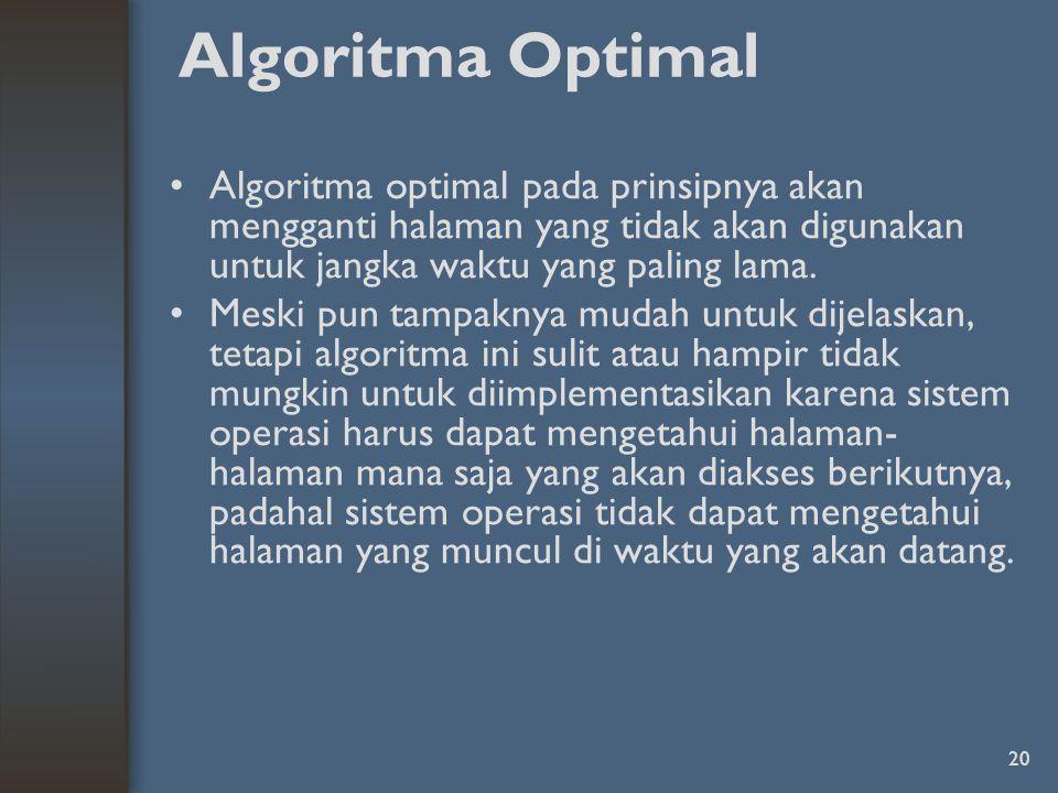 20 Algoritma Optimal Algoritma optimal pada prinsipnya akan mengganti halaman yang tidak akan digunakan untuk jangka waktu yang paling lama.