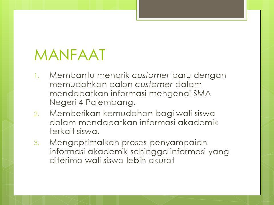 MANFAAT 1. Membantu menarik customer baru dengan memudahkan calon customer dalam mendapatkan informasi mengenai SMA Negeri 4 Palembang. 2. Memberikan