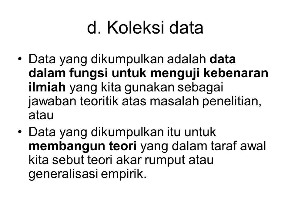 d. Koleksi data Data yang dikumpulkan adalah data dalam fungsi untuk menguji kebenaran ilmiah yang kita gunakan sebagai jawaban teoritik atas masalah