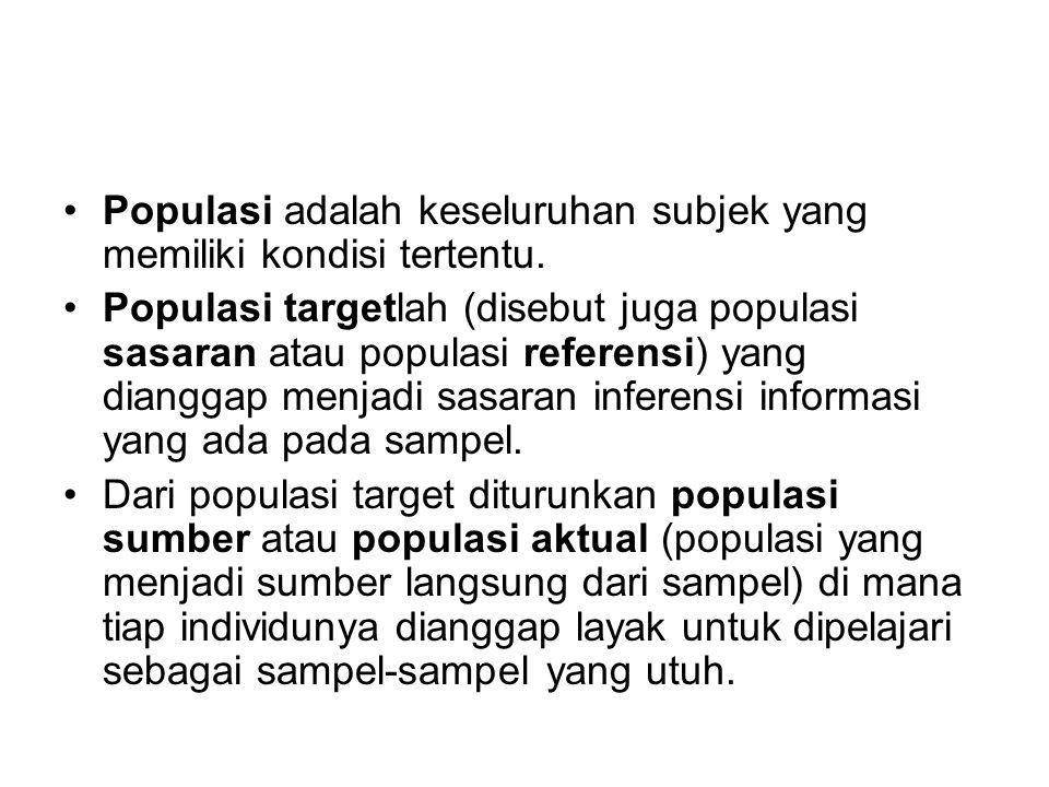 Populasi adalah keseluruhan subjek yang memiliki kondisi tertentu. Populasi targetlah (disebut juga populasi sasaran atau populasi referensi) yang dia